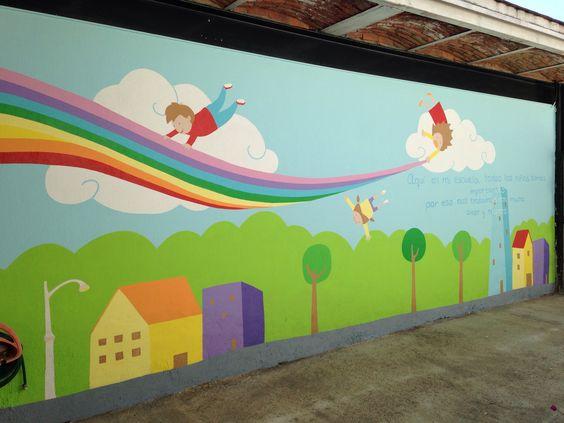 Murales infantiles en escuelas decoracion salon pinterest for Murales infantiles