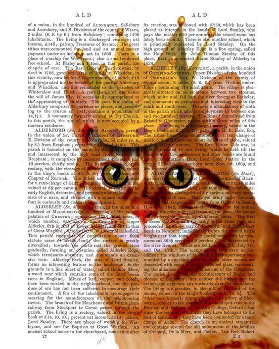 Impressions numériques, Ginger Cat avec la couronne, copie de chat, portra est une création orginale de FabFunky sur DaWanda