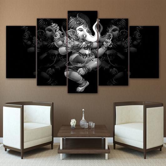 Hindu God Ganesha Canvas Print Painting Framed Home Decor Wall Art Poster