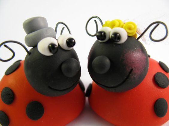 wedding cake topper  lady bug  polymer clay by yaelsplace on Etsy, $62.00