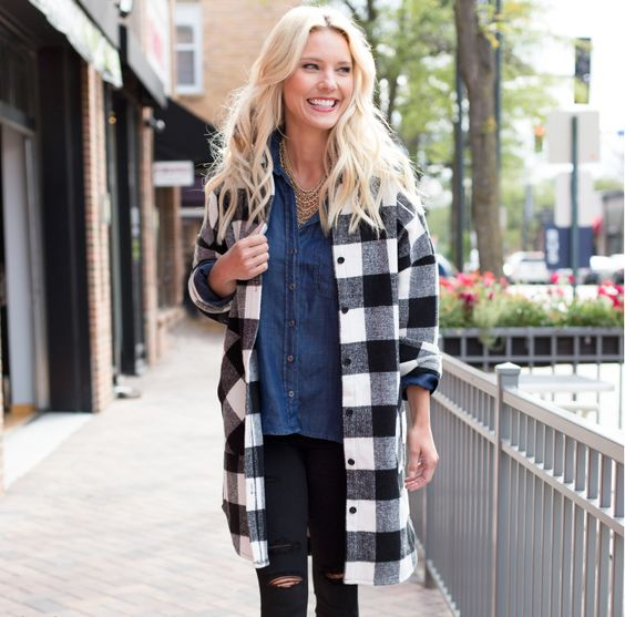 The perfect plaid coat for fall AND winter.
