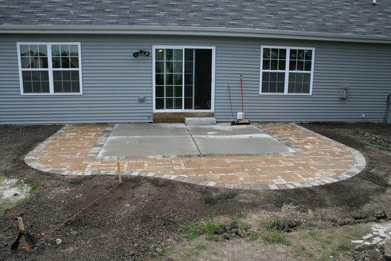 diy extending concrete patio with pavers