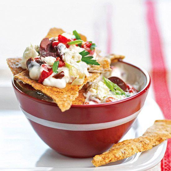 Mediterranean Veggie Dip -- yogurt, feta cheese and lots of veggies and olives.  YUM!!