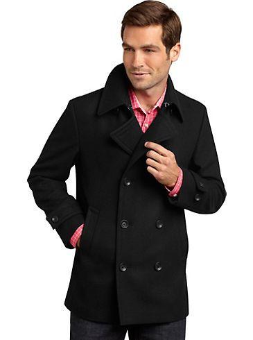 Outerwear - Egara Black Slim Fit Peacoat - Men's Wearhouse | For