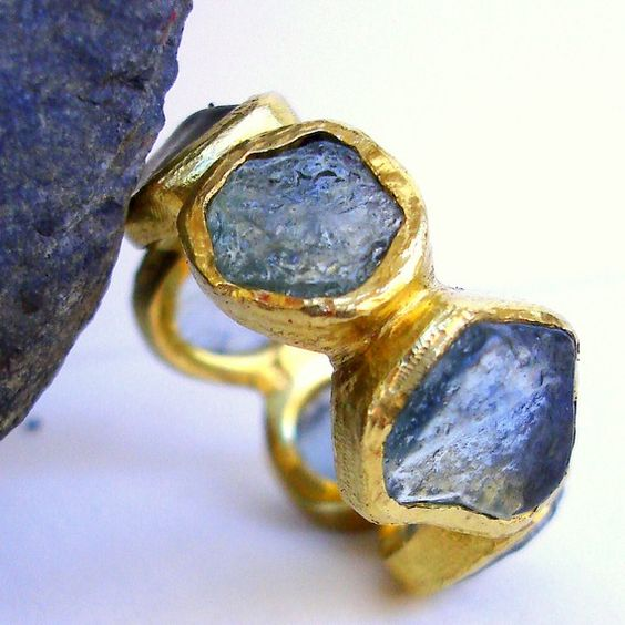 Items similar to Raw Montana Sapphire Eternity Ring on Etsy
