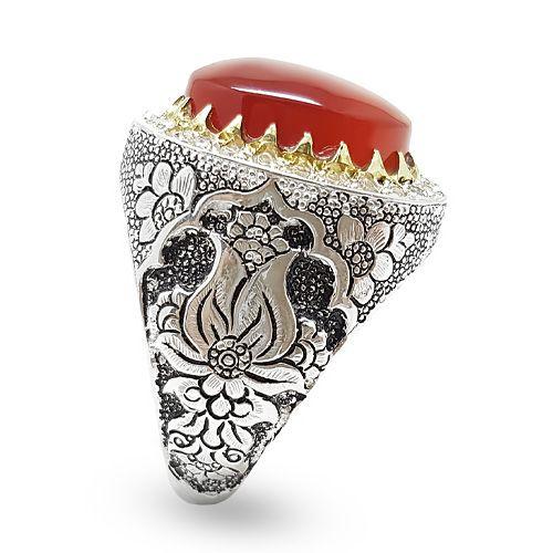 انگشتر نقره مردانه دست ساز فاخر عقیق قرمز کد R06 Men S Rings Decor Home Decor