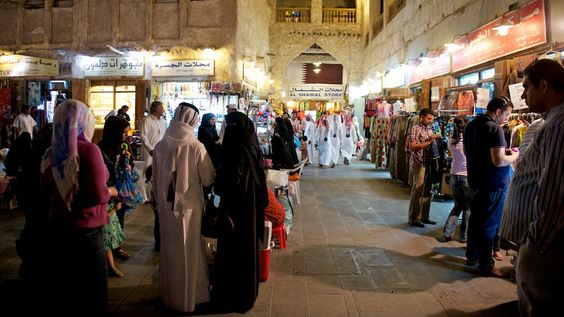 """Souq Waqif—literally """"standing market""""—is the traditional shopping location in Doha for garments, spices, candy, animals, and gifts. There are also lots of good restaurants, including a Yemeni place called Bandar Aden. There's been a market on this location for over a hundred years, but this latest incarnation is quite recent and is quite the contrast to the hyper-modern feel of the West Bay where I'm staying. From http://duncandavidson.com/blog/2012/04/souq_waqif"""