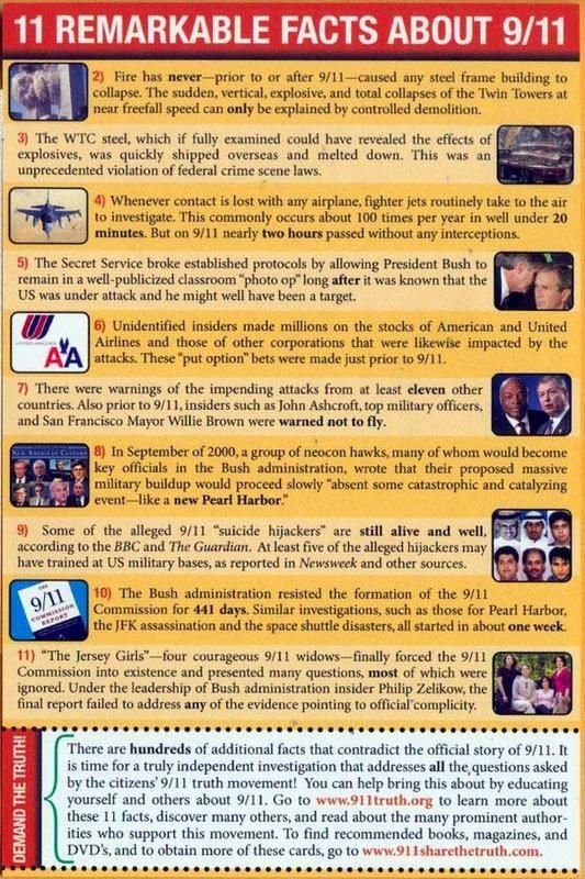 911 remarkable facts!.... AND... The commission investigating the largest terror attack on American soil was only given $15 million to do so.......the investigation into impeaching Pres. Clinton was given over 3 times that amount.