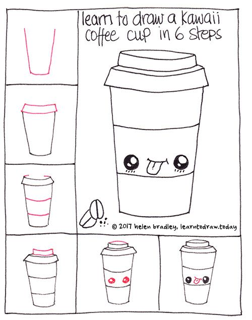 How To Draw A Cute Coffee In Six Steps Drinken Tekenen Easy