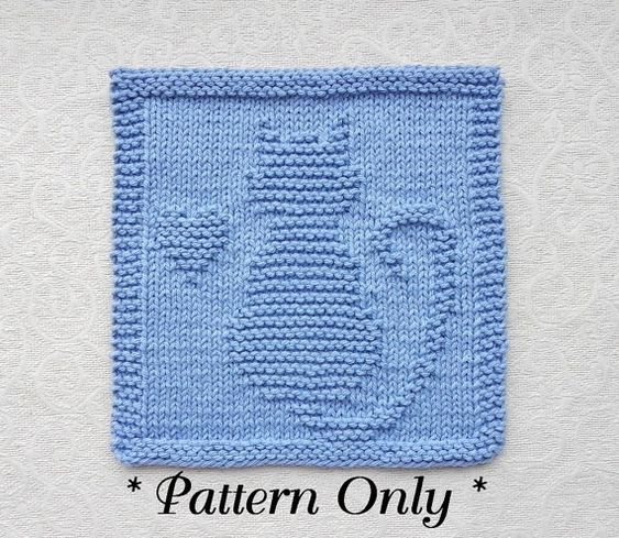 Knitted Quilt Block Patterns : Cat with heart knit pattern pdf instant download quilt