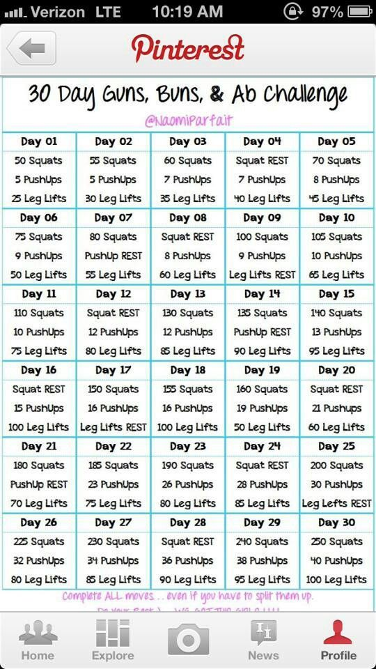 30 day total body challenge. Click link for all of the moves for each day plus yoga.