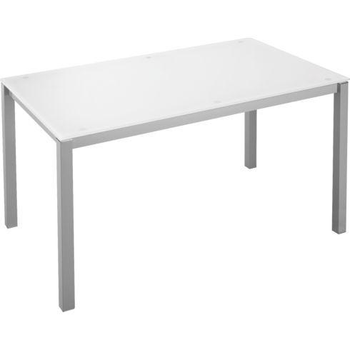 Bureau droit L 140 x P 80 cm plateau blanc piétement 4 pieds Next