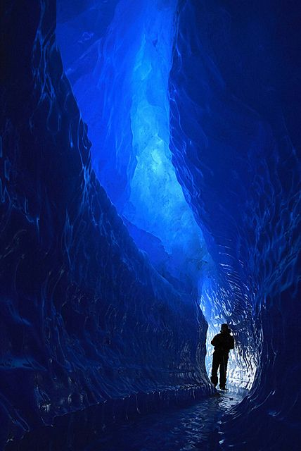 An amazing 5 m high 150 m long ice tunnel formed by melt water and pressure ridges on the ice shelf near the Schirmacher Oasis, Queen Maud Land, Antarctica.