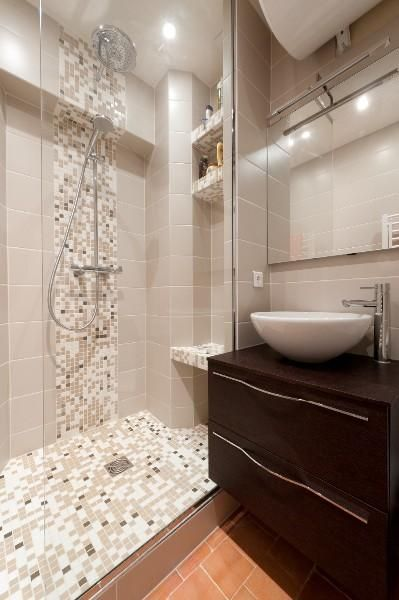 Petite douche a l 39 italienne wc idee am nagement pinterest for Photos douche italienne