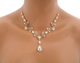 Floral collier mariée, collier mariage, bijoux de mariée, collier de style vintage,