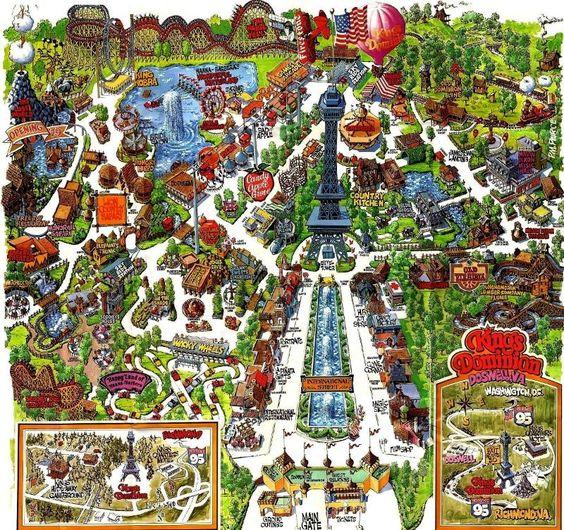 Die Karte von meinem ersten Vergnügungspark - KIng's Dominion bei Richmond, Virginia 1978