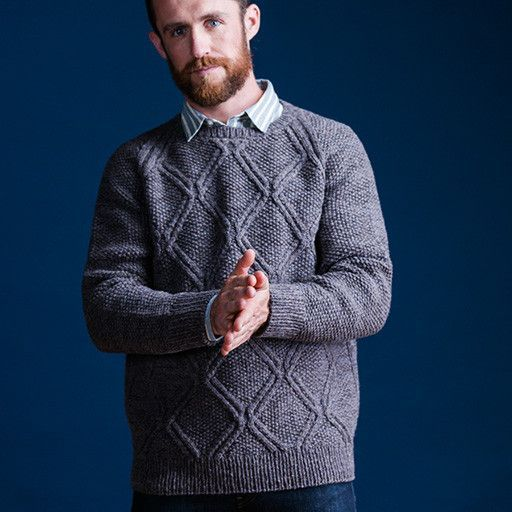 Get ready for fall with a mulled blend of closely related hues: two strands of Loft held together allow you to create your own custom color for this pullover. Carver is perfect for casual weekend wear, but its crisp patterning of twinned diamond cables on a ground of seed stitch makes this modified raglan smart enough for the office as well. A slight V-taper from hem to chest keeps the silhouette trim despite the comfortable loose fit.