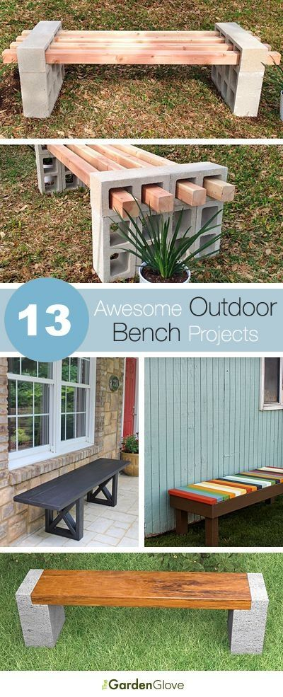 13 Outdoor Bench Projects, Ideas,  Tutorials: