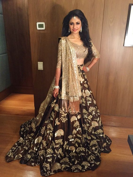 Light Brown embroidered top with coffee lehnga
