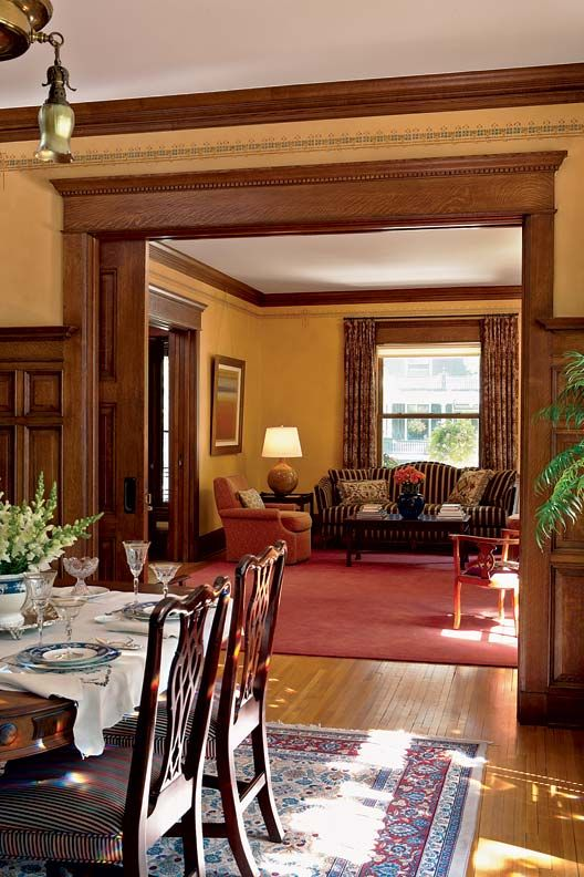Uncovering A Historic Foursquare Craftsman Living Rooms Craftsman Interior House Interior