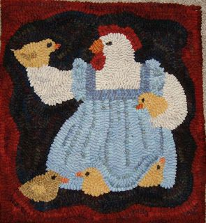 Mother Hen with Chicks  14 x 15 1/2 $40 + shipping Woodland Junction Primitives