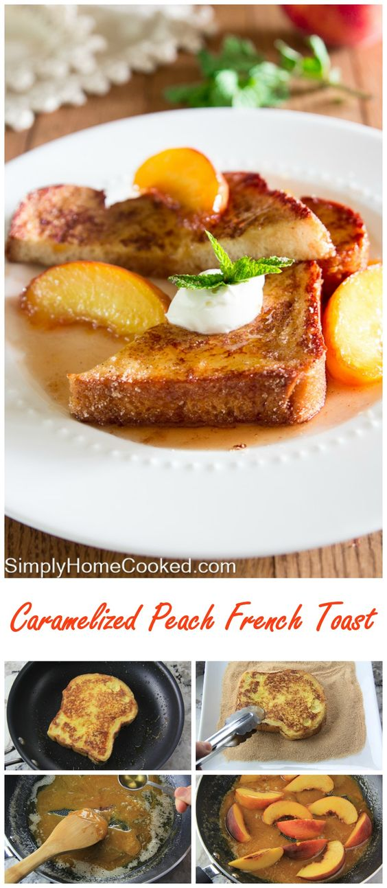 Cinnamon french toast drizzled with caramelized rum and peach syrup, and topped with fresh crème fraîche.