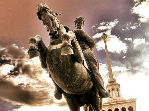 Statue of David of Sasun in Yerevan, Armenia