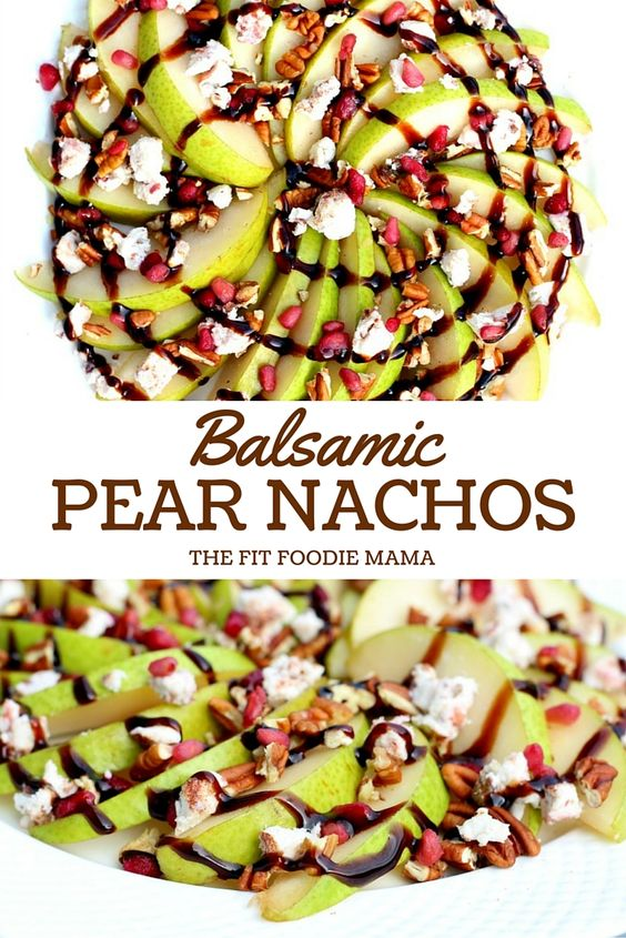 Pear Nachos with Cinnamon Pecan Goat Cheese, Pecans, Pomegranate ...