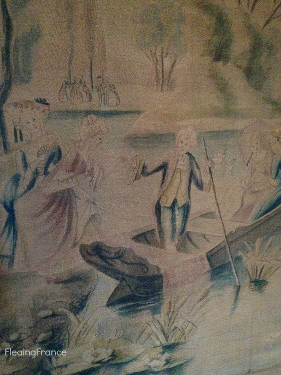 FleaingFrance.....1800's French toile panel with hand painted pastoral image
