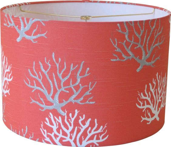 and more coral lamp lamp shades drums coral shades lamps gray nautical. Black Bedroom Furniture Sets. Home Design Ideas