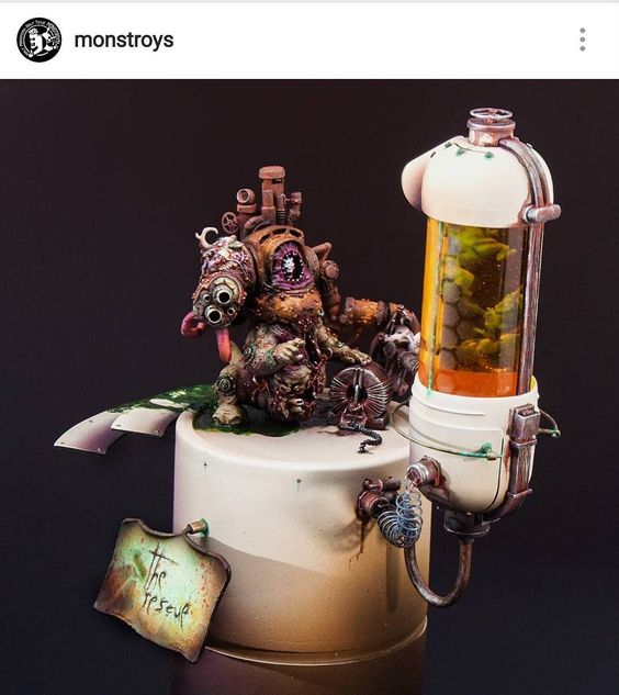 For this #followfriday hit up @monstroys. Sublime mind bending a d utterly perfect work! #paintingwarhammer #warmongers #warhammer #warhammer40k #gamesworkshop #gw #hobby #tabletopgaming #wh40k #40k #scratchbuild #conversion #kitbash #converted #greenstuff #sculpting