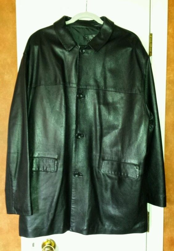 MR FLORENCE ITALY BLACK LEATHER BUTTERY SOFT LAMBKIN BIG MENS DRESS COAT 52 XL  #MR #DRESSCOAT