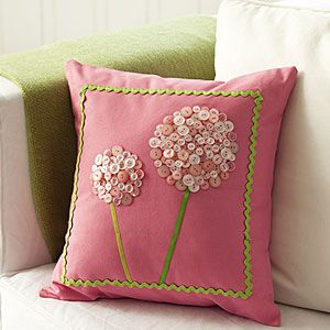 button flower pillow: Flower Pillow, Crafts Button