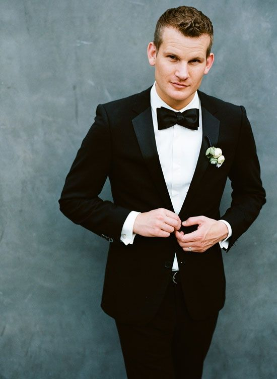 groom in black suit and black bow tie...! | Wedding | Pinterest