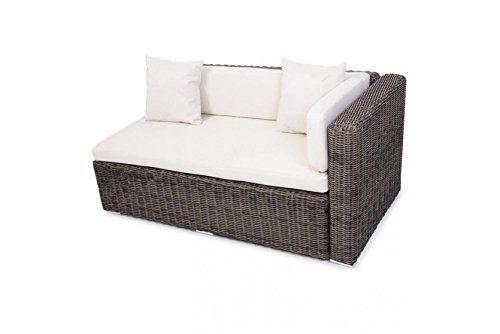 Polyrattan Sofa naturgrau Ecksofa Loungesofa Couch Sofa Outdoor Gartenmöbel neu