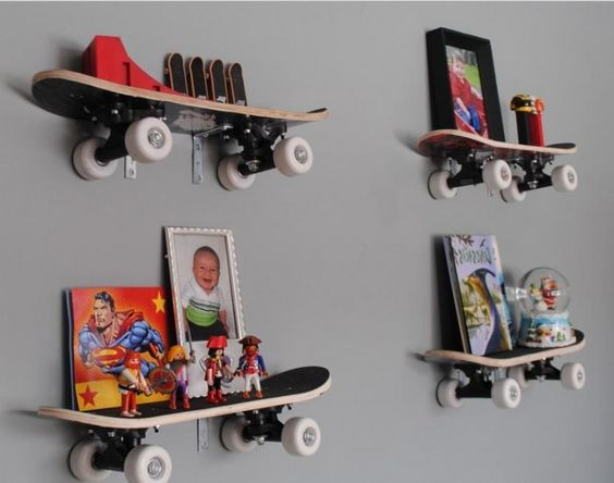 skateboard shelves kid 39 s room wall decor pinterest. Black Bedroom Furniture Sets. Home Design Ideas