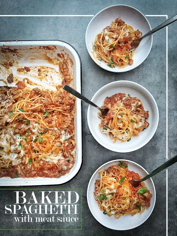 For an easy weeknight dinner, make this Baked Spaghetti with Meat Sauce recipe. Perfect for leftovers. Fortify your fridge this week!