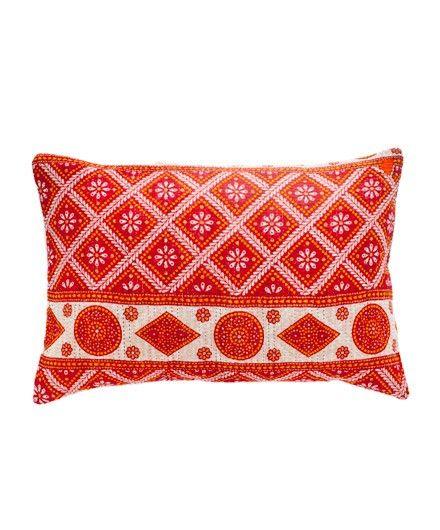 Kantha Rectangular Pillow in Red - Pillows & Throws - Living Room - Rooms: Pillows Pillows, Red Pillows, Living Rooms, Kantha Rectangular, Histoire Pillows Throws, Rooms Fddreamhome, Living Room Pillows
