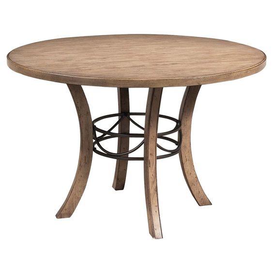Charleston Round Wood Table with Metal Ring - Tan