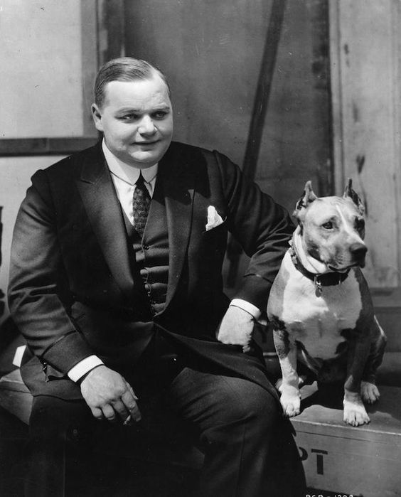 Fatty Arbuckle and his pitbull. Vintage Photos: Celebrities And Their Favorite Dogs: LAist