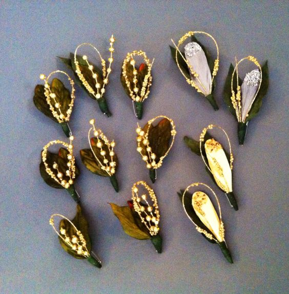 Gold and gray boutonnieres DIY