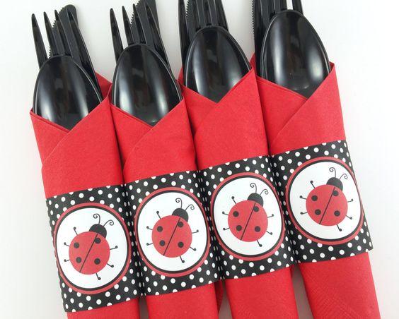 Ladybug Party Napkin Rings, Ladybug Birthday Napkin Rings, Ladybug Silverware…