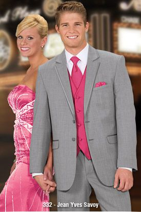 What do you think of a grey tux with pink vest and tie? | Wedding