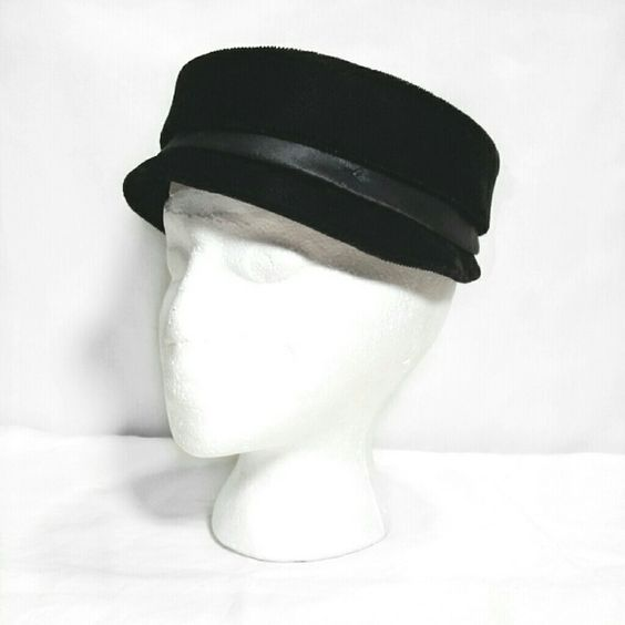 "Vtg 60s velvet formal pillbox top hat * Prices are negotiable ? * Bundle to save!  Vintage 1960s shallow pillbox style fashion hat with short brim. Rigid frame. 2"" tall hatband ribbon. - Brand: Unbranded  - Size: Medium  Inner Circumference 22""  Depth 1.5"" - Color: Black - Fabric: Velvet/velour upper, unknown blend. - Condition: Very good, no flaws #makeanoffer # pillboxhat #tophat #beret #velvethat #formalhat Vintage  Accessories Hats"