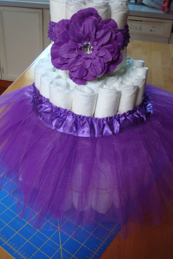 Purple tutu diaper cake kit handmade headband set