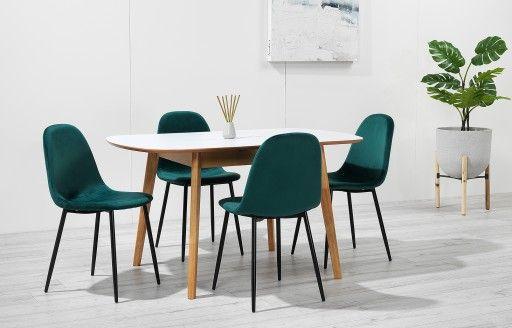 Astrid Extendable Dining Set 4 Seats Green Velvet In 2020
