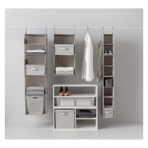 6 Shelf Hanging Fabric Storage Organizer Light Gray Made By