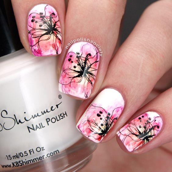 Nailpolis Museum of Nail Art | Sharpie Watercolor Flowers by Emiline Harris