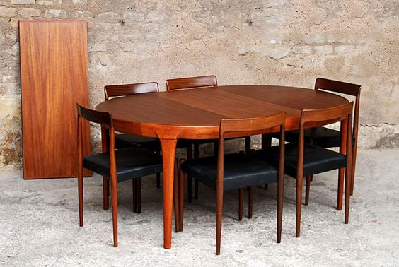 Table ronde scandinave en teck avec 2 rallonges made in for Table rallonge scandinave