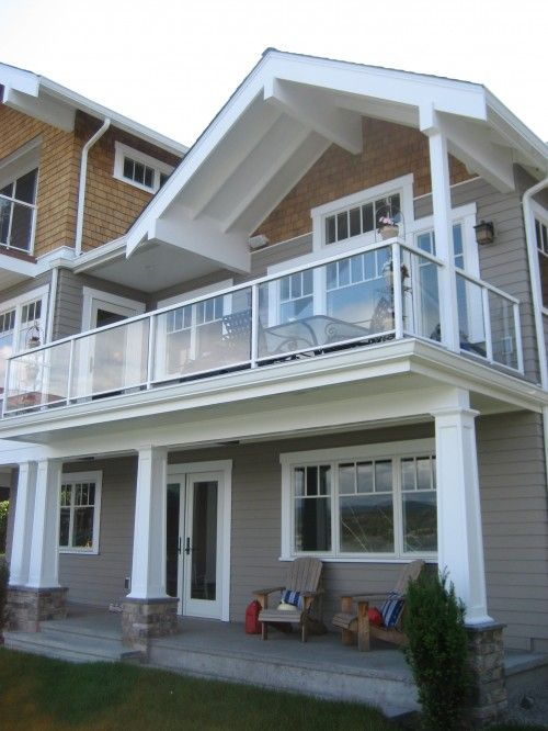 Great covered deck detail with exposed white rafters and painted beams architecture - Houses with covered balconies ...